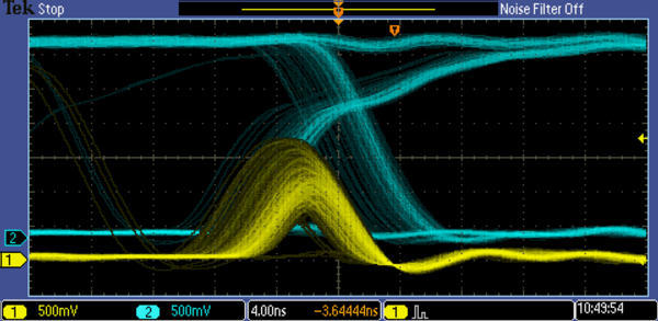 Осциллограмма на экране прибора с цифровым люминофором